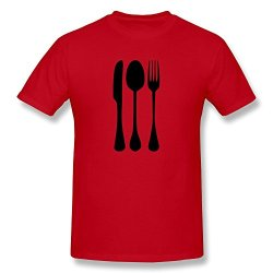 Facai Men'S Dinner Vectorfork Knife Spoon Cotton Round Collar T Shirt L Red