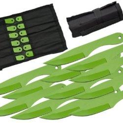 Szco Supplies Green Deadwalker Throwing Knife Set (12-Piece)