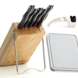 """Cutco Model 1847 Space Saver Set...............................5 High Carbon Stainless Knives With With Classic Dark Brown Handles (Often Called """"Black"""") In Factory-Sealed Plastic Bags................Includes #1746 Honey Finish Oak Block, #82 Sharpener An"""