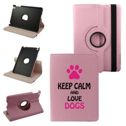 Keep Calm And Love Dogs Mini Ipad Cover Synthetic Leather Rotating Ipad Mini Case (Pink): 360 Degrees Multi-Angle Vertical And Horizontal Stand With Strap- Lifetime Warranty