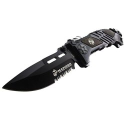 Unlimited Wares Usmc Marines Tactical Assisted Opening Folding Knife 5.25-Inch Closed