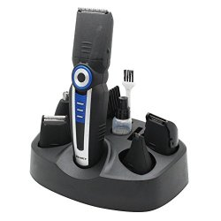 Esmatlink Generic Km-008 Multifunctional 6 In 1 Men'S Wireless Rechargeable Electric Beard Shaver Nose/Ear Eyebrow Nasal Temples Male Combination Hair Trimmer Clipper Set, Black