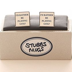 Stubbs Mugs I'D Rather Be Playing Golf Cufflinks Boxed Set