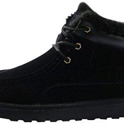 Rock Me Men'S Thicker Wool Leather Flat Waterproof Ankle Snow Boots Iii (8.5 D(M) Us, Black)