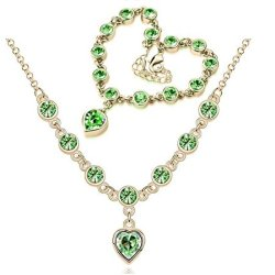 Chariot Trading - Cs184 Fashion 2014 New Heart Rhinestone Austrian Crystal Necklace Bracelets Set ( Color : Gold Green )