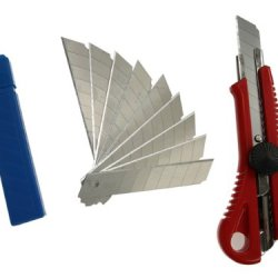 Sdi-5421 Snap-Off Utility Knife With 12 Set Of Sk2+Cr Blades, 18Mm Heavy Duty Cutter