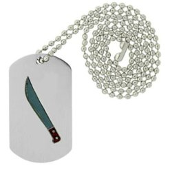 Military Emblem Dog Tag W/ Metal Chain Necklace - Military Vehicle & Weapons Pins - Military Weapon & Knife Pins - Machete