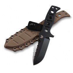 375Bksn Adamas Fixed Benchmade Knife Sibert Design Black W/ Sand Sheath