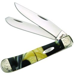 Case Cutlery 925424Kt/E 24 Karat Engraved Trapper Corelon Pocket Knife With Stainless Steel Blades, Black/Gold