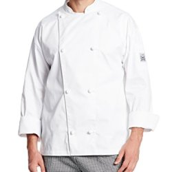 Chef Revival J003 Poly Cotton Knife And Steel Long Sleeve Chef Jacket With Cloth Knot Button, 2X-Large, White
