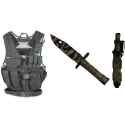Ultimate Arms Gear Stealth Black Lightweight Edition Tactical Scenario Military-Hunting Assault Vest W/ Right Handed Quick Draw Pistol Holster + Acu Army Digital Camo Camouflage M9 M-9 Military Survival Tiger Stripe Tigerstripe Blade Bayonet Knife With Ta