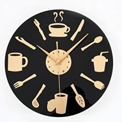 High Quality Knife And Fork Coffee 3D Quartz Thicken Wall Clock For Home Decoration
