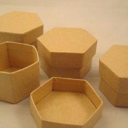"""Darice Paper Mache Decoupage """"4 Piece Mini Hexagon Box"""""""