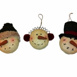 Craft Outlet Papier Mache Snowman Head Ornament, Set Of 3