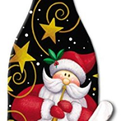 Counterart Wine Bottle Shaped 12-1/2-Inch Glass Cheese Board With Spreader Knife, Santa And Stars