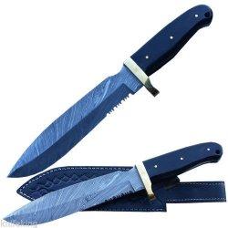 Custom Made Damascus Steel Puma Hunting Knife W/ Buffalo Horn Handle W/Sheath (Limited Edition)