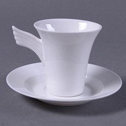 Granvela Coffee Cups Coffee Mugs Pure Bone China Angel Shape Designed Artworks A Cup Of A Saucer