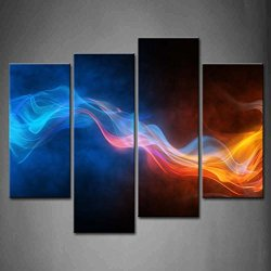 4 Panel Wall Art Fresh Look Color Abstract Background Blurry Bright Abstraction With Coloured Lines Blue Yellow Painting The Picture Print On Canvas Abstract Pictures For Home Decor Decoration Gift Piece (Stretched By Wooden Frame,Ready To Hang)