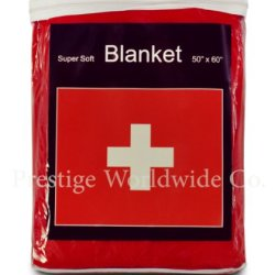 Swiss Flag Fleece Blanket 5 Ft X 4.2 Ft. Switzerland Travel Throw Cover