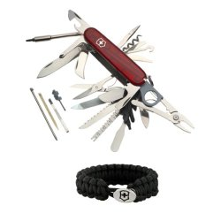 Victorinox 53504 Swiss Army Knife Champ Xlt (Transucent Ruby) + Paracord Bracelet