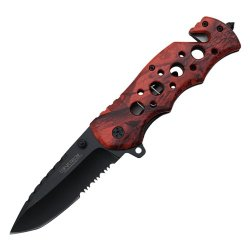 8 Inch Wartech Spring Assisted Rescue Drop Point-Tanto Blade Pocket Knife (Orange Camo) Yc-S-7011-Ocm