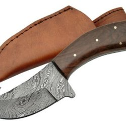 Szco Supplies Walnut Handle Damascus Guthook Knife