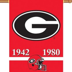 Ncaa Georgia Bulldogs 2-Sided Championship Years Banner Flag With Pole Sleeve Wall Scroll
