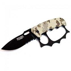 "Defender Xtreme 8"" Desert Camo Black Blade Heavy Duty Ao Knife"