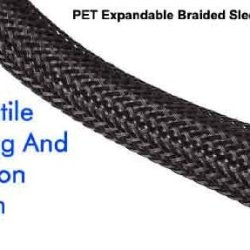 Techflex Polyethylene Terepthalate Monofilament Yarn, Expandable Braided Sleeving, 10-Feet X 1.25-Inch, Black