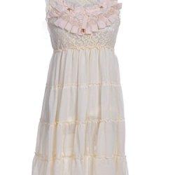 Anna-Kaci S/M Fit Pink Layered Ruffle And Lace Metal Embellished Collar Dress