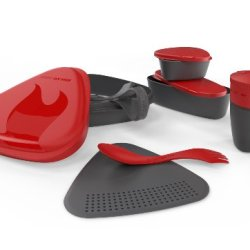 Light My Fire 8-Piece Bpa-Free Meal Kit 2.0 With Plate, Bowl, Cup, Cutting Board, Spork And More (Red)