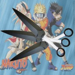 "Naruto Anime Kunai Throwing Knives 9"" White 3 Piece Set W/ Sheath (Limited Edition)"