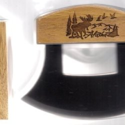Alaskan Ulu Knife With Etched Scenic Bull Moose Handle