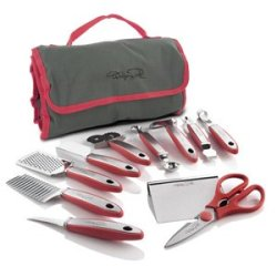 New Wolfgang Puck 12 Pc Elite Prep & Garnish Set With Storage Case (Red)