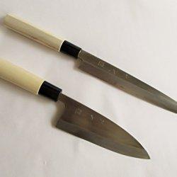 "Sakai Takumi Ajimasa, Stainless Steel Model ""Suiko"", Japanese 2 Kitchen Knife Sets #2,Deba 150Mm/5.9"" & Yanagiba Knife 210Mm/8.3"",Made In Japan"