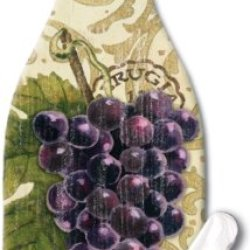 Counterart Vista Grapes Wine Bottle Shaped 12-1/2 Inch Glass Cheese Board With Spreader Knife