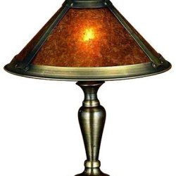 "Meyda Lighting 23028 17""H Van Erp Amber Mica Accent Lamp"