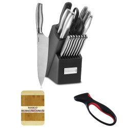 Cuisinart 17Pc Stainless Steel Block Set + Bamboo Cutting Board + Jokari Deluxe Ultimate Knife Sharpener With Comfort Grip