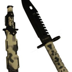 Ultimate Arms Gear Tactical Limited Edition Urban / Snow Camo Camouflage Special Forces Series M9 M-9 Military Sawback Survival Stealth Black Blade Bayonet Knife With Tactical Sheath Scabbard