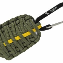"""The Friendly Swede (Tm) Carabiner """"Grenade"""" Survival Kit Pull With Tin Foil, Tinder, Fire Starter, Fishing Lines, Fishing Hooks, Weights, Swivels, Dobber, Knife Blade Wrapped In 7Ft Of 500 Lb Paracord In Retail Packaging (Army Green With Yellow Line) - Li"""