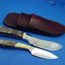 "Custom Combo Set Of Knives And Custom Leather Knife Sheath. You Will Receive Both 7 1/2"" Skinning Knife, 6 1/2"" Caping Knife And A Custom Leather Knife Sheath That Is Made Out Of 8 Oz Leather. You Must Be Of Legal Age To Purchase Knife!"