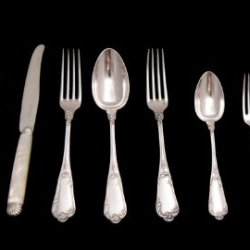 "A Stunning 19Th Century, Louis Xvi Model, 158 Pc., Sterling Silver Flatware Set By ""Christofle"" And ""Tallois & Mayence"" With Magnificent Mother Of Pearl Knife Handles And Two Storage Chests (Circa 1895) !!"
