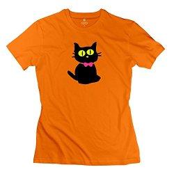 Woman Black Kitty Cat Art T Shirt - Funny Custom Orange T Shirt