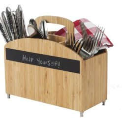 100% Bamboo Cutlery Carrier With Chalkboard Labels By: Great Useful Stuff