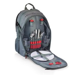 Picnic Time Escape Insulated Picnic Pack With Service For 2, Gray/Red