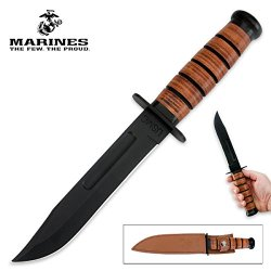 The Offially Lincensed Usmc Combat Hunting Fighting Bowir Knife With Leather Sheath Uc3092
