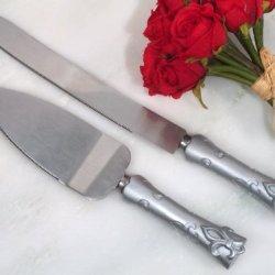 Silver Fleur De Lis Cake And Knife Server Set Wedding Set