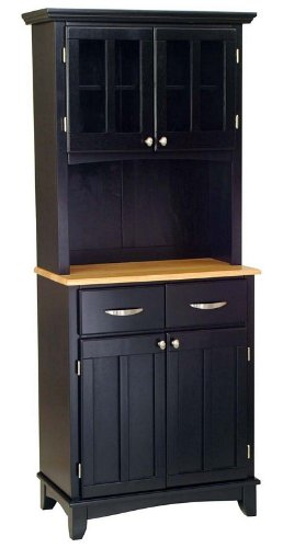 Image of Buffet Hutch with Natural Wood Top in Black Finish (VF_HY-5001-0041-42)