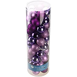 Purple Decorative Christmas 60mm Shatterproof Orbs and Ornaments - 50 Pack