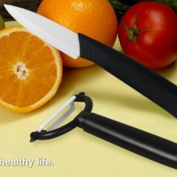 New Ceramic Knife & Y- Peeler Set With Black Handle